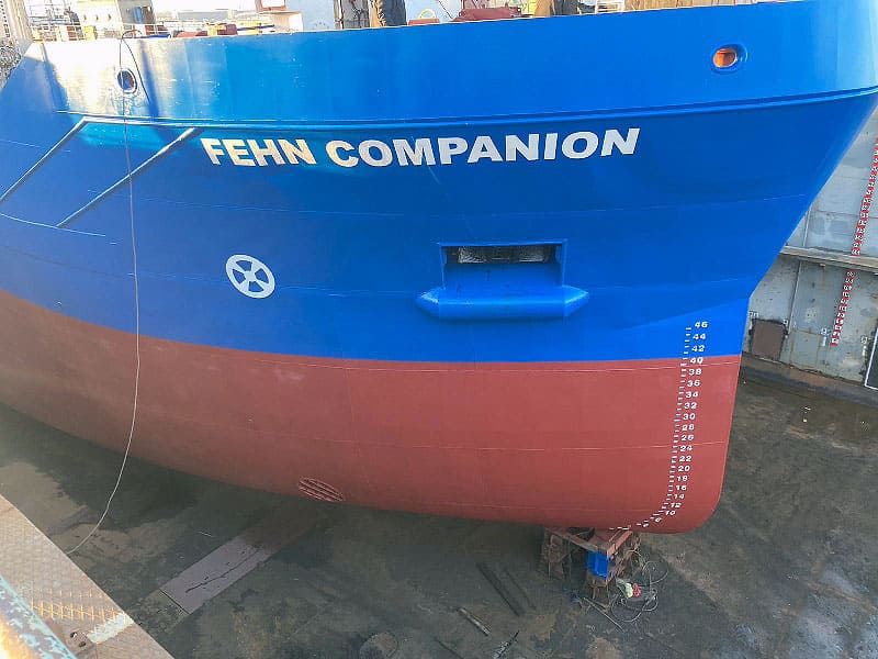 Schiff mit der Aufschrift Fehn Companion